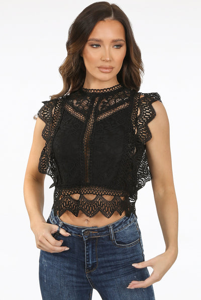 Black Lace Crochet Mesh Crop top - Delilah