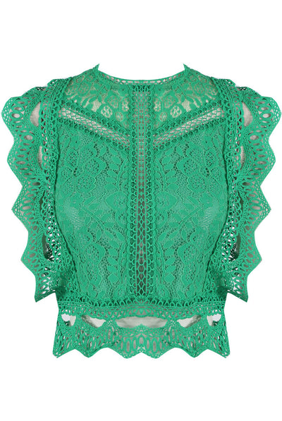 Green Lace Crochet Mesh Crop top - Delilah