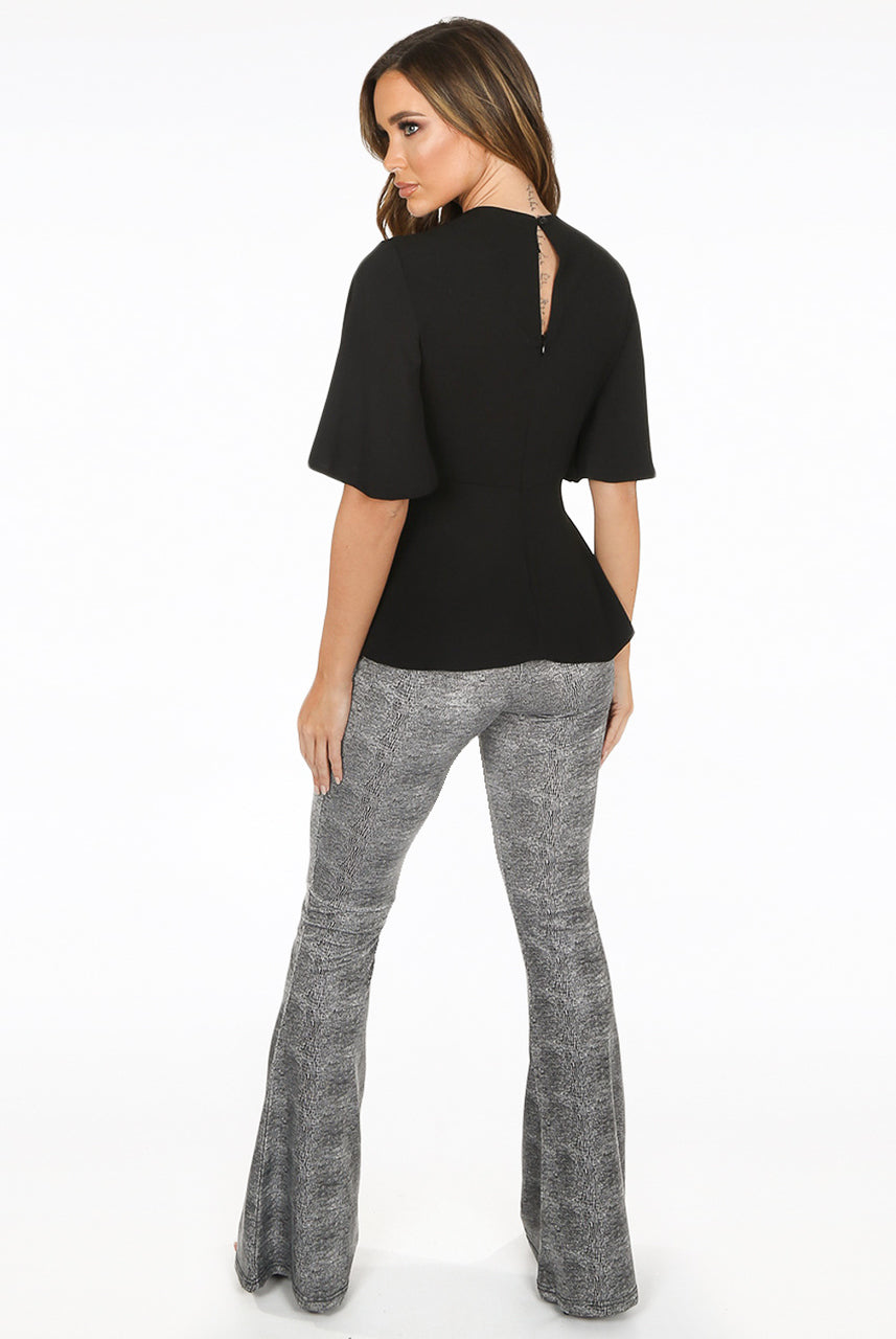 Grey Reptile Textured Bell Bottom Trousers - Mariah