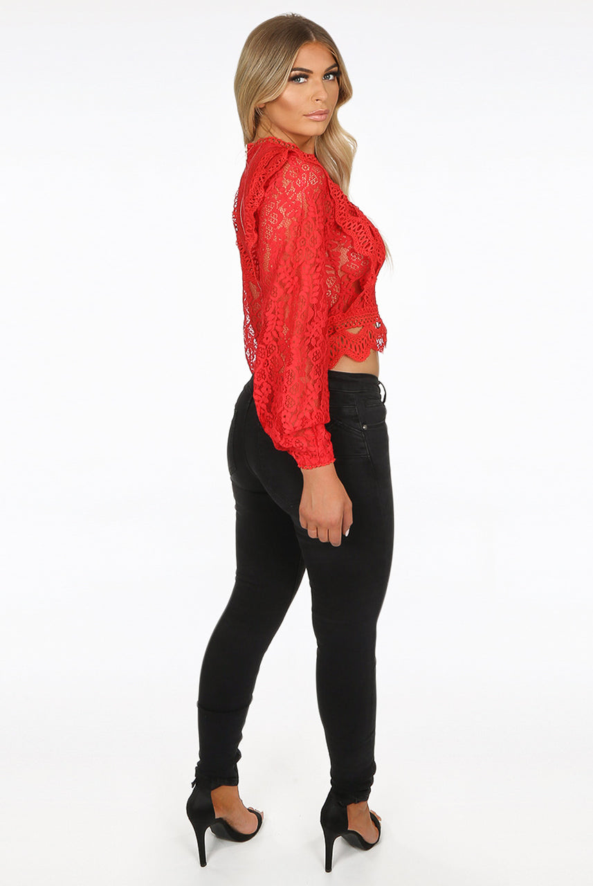 Hot Red Lace Crochet Mesh Crop top - Dylan