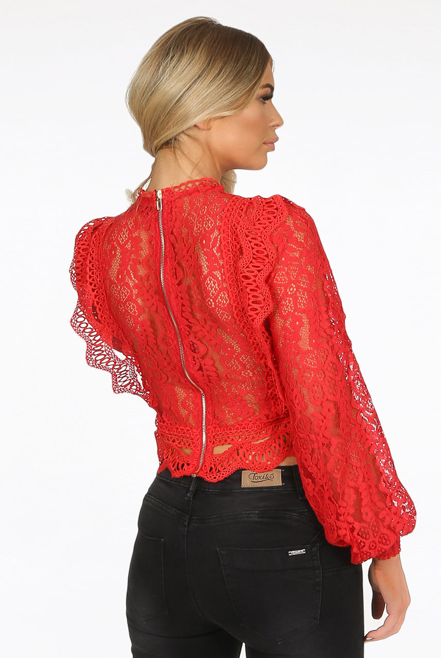 Hot Red Lace Long Sleeve Crochet Mesh Crop top - Dylan