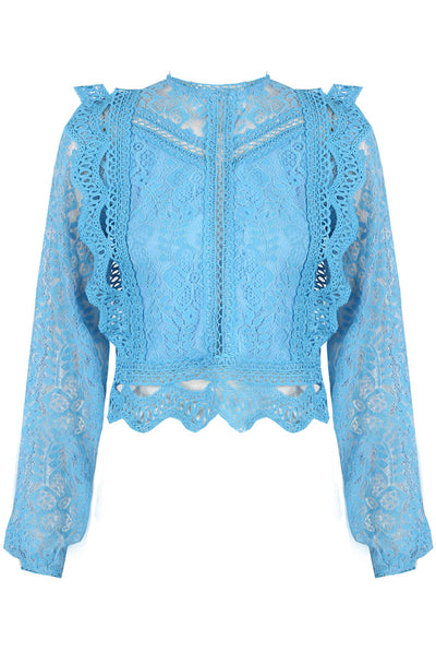 Sky Blue Lace Long Sleeve Crochet Mesh Crop top - Dylan