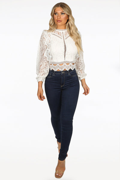 Off White Long Sleeve Lace Crochet Mesh Crop top - Dylan