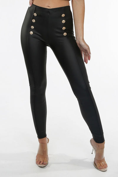 Black Pu Gold Button High Waist Legging - Jayleen