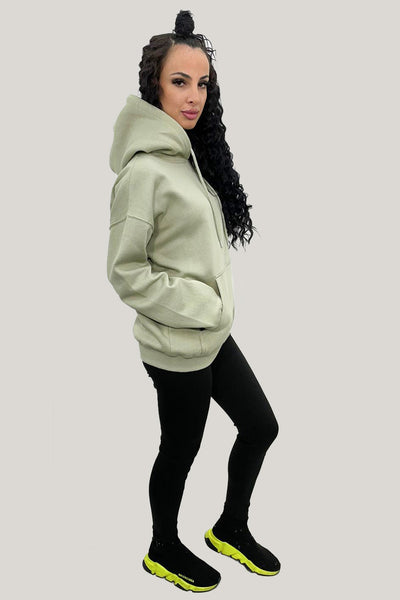 Sage Green Jersey Casual Lounge Hoodie - Kelly