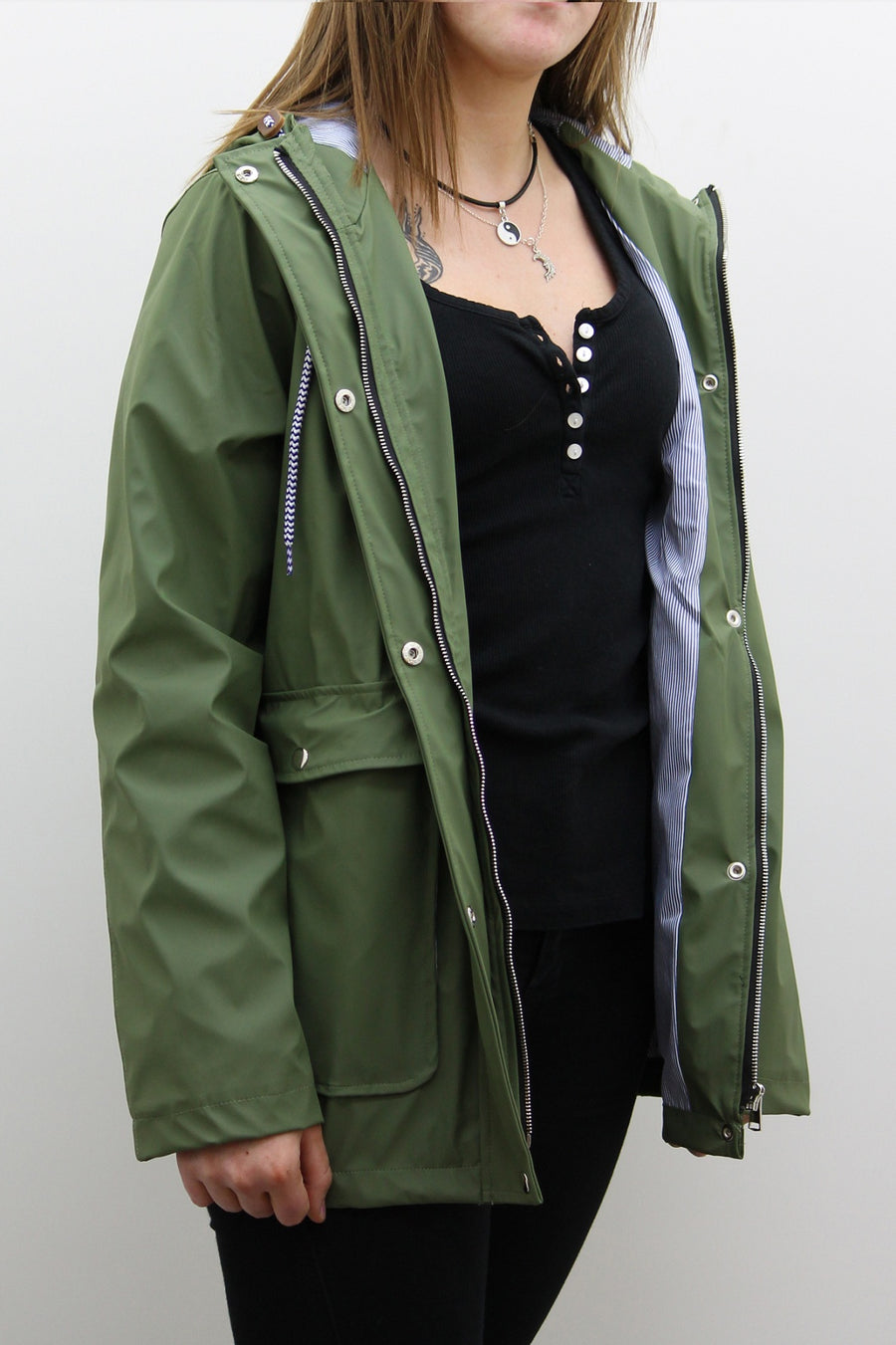 Khaki Green Waterproof Hooded Festival Rain Mac coat - Lola