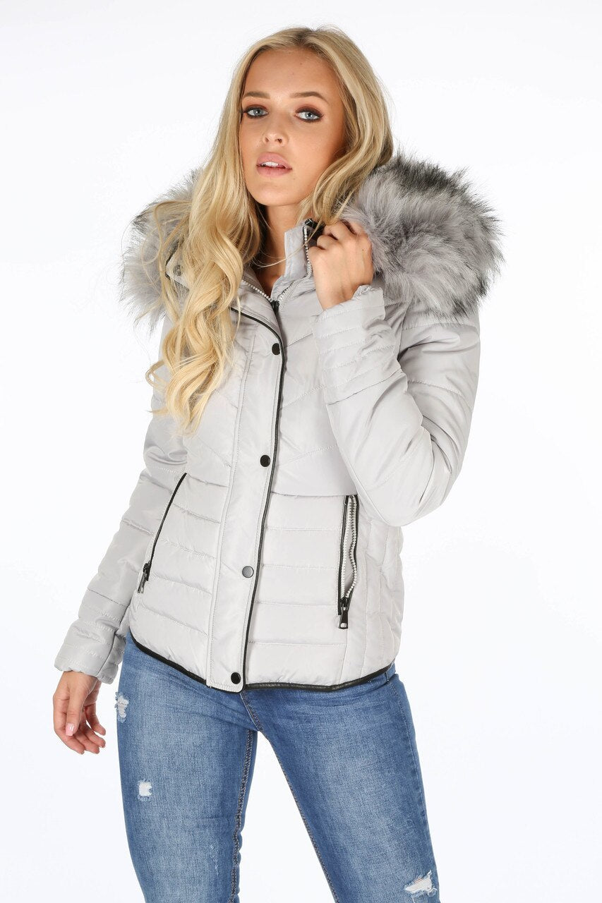 Back In Stock Grey Faux Fur Hood Puffer Jacket - Serena