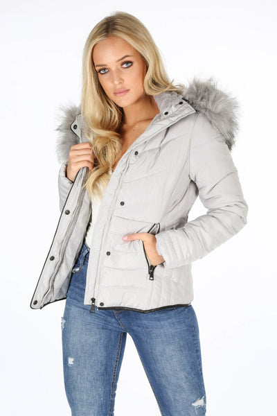 Grey Faux Fur Hood Puffer Jacket - Serena