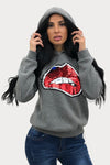Charcoal Grey Sequin Lips Hooded Sweatshirt - Yara