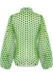 Green Polka Dot Wing Sleeves Mesh Shirt - Lynn - Storm Desire
