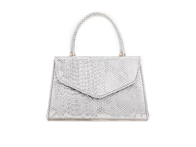 Silver Metallic Reptile Top Handle Mini Bag - Rebecca