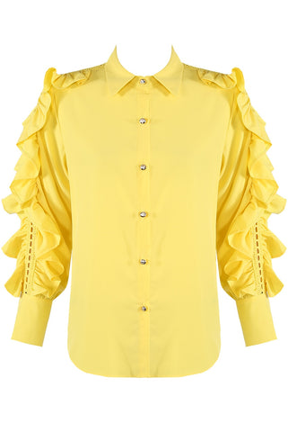 yellow Lace Frill Sleeves Shirt Blouse - Raelynn - Storm Desire