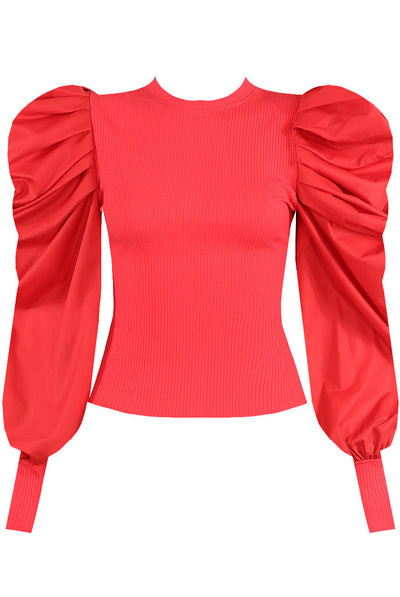 Back In Stock Red Oversize Puff Sleeve Ribbed Top - Courtney