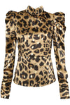 Beige Satin Cheetah Print Puffed Sleeve Top - Karlie
