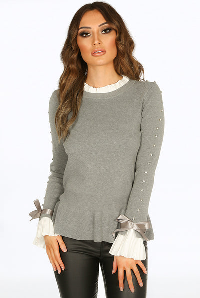 Grey Diamante Sleeve Knitted Jumper Frill Top - Melanie