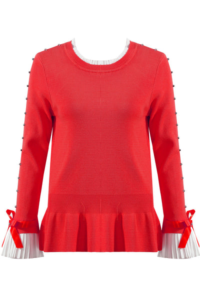 Red Diamante Sleeve Knitted Jumper Frill Top - Melanie - Storm Desire