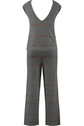 Grey V Neck Knitted Co-ord Suit - Kylie