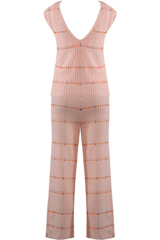 Pink V Neck Knitted Co-ord Suit - Kylie