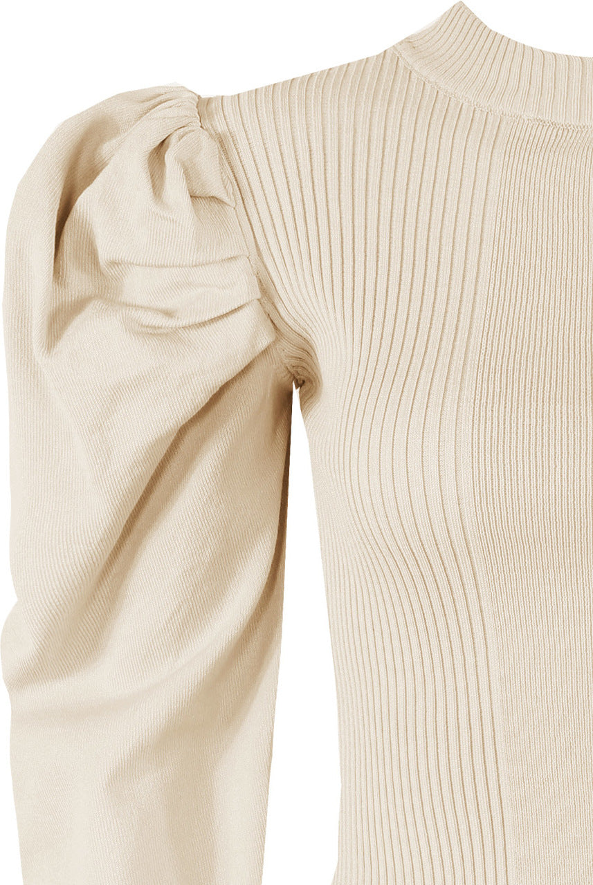 Light Beige High Neck Pleated Sleeve Ribbed Jumper - Novah