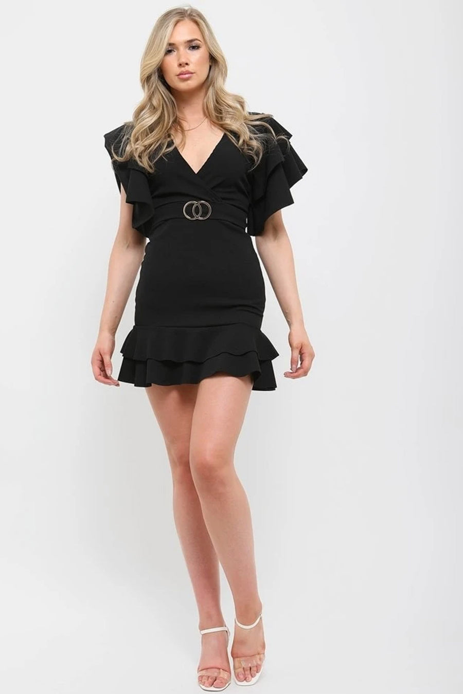 Black Double Ring Wrap Front Frill Dress - Arielle