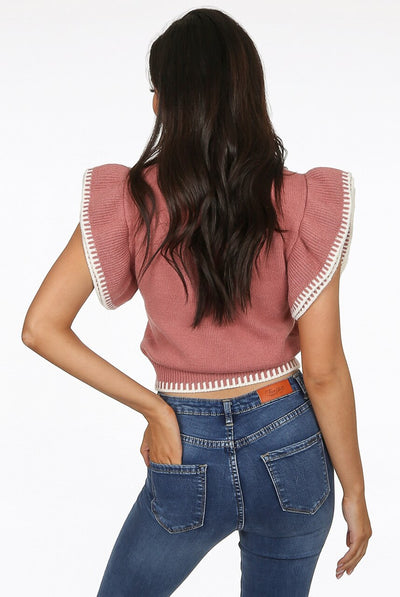 Dusky Pink Frill Sleeve Chunky Knitted Top - Riley