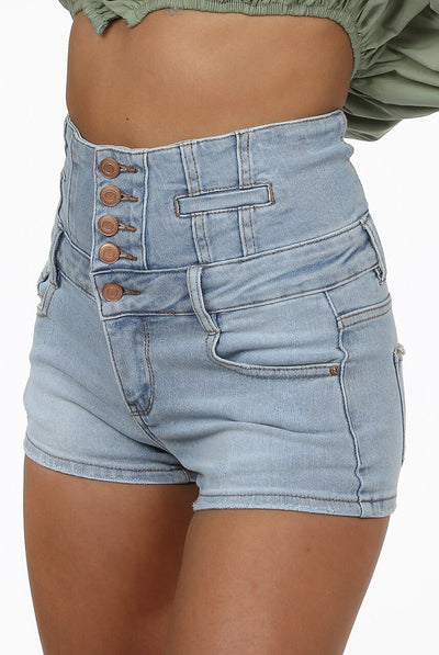 Denim Blue High Waist Button Up Shorts - Lydia