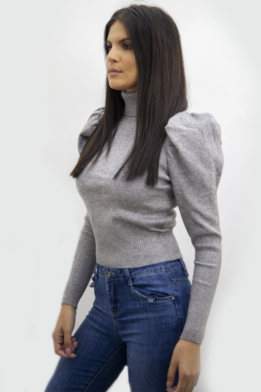 Grey Puff Sleeve High Neck Jumper - Camila