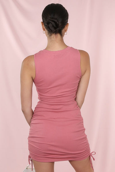 Rose Pink Side Ruched Ribbed Mini Dress-  Gabriella