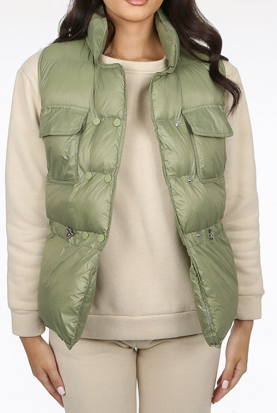 Green Shiny Quilted Gilet - Evie