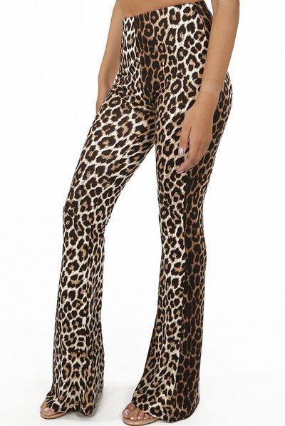 Cheetah Print Bell Bottom Trouser -  Gigi