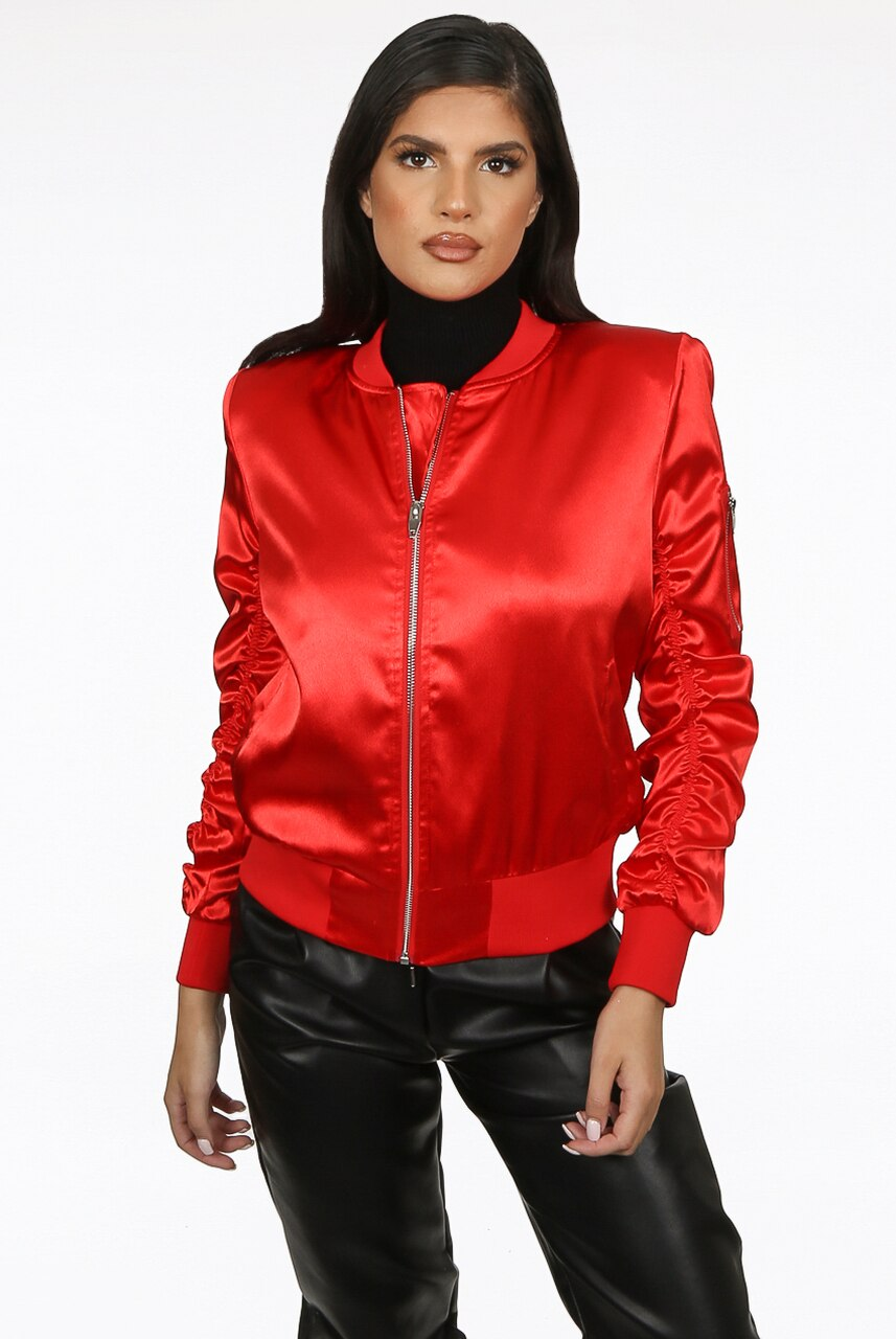 Red Ruched Sleeve Satin Lux Bomber Jacket - Anastasia