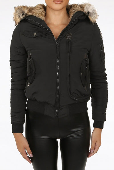 Black Faux Fur Hooded Bomber Jacket - Elena
