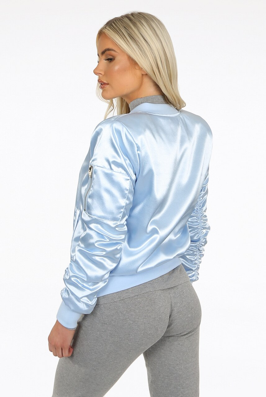 Baby Blue Ruched Sleeve Satin Lux Bomber Jacket - Anastasia