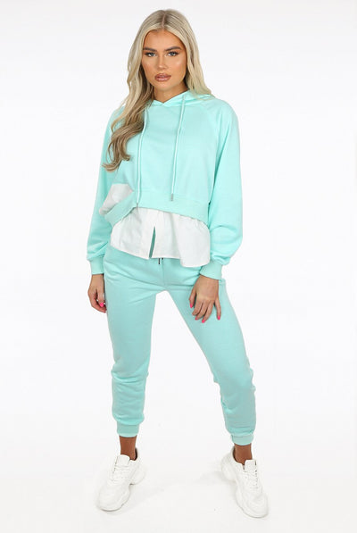 Mint Cut Shirt Hoodie & Jogger Loungewear Set - Maeve
