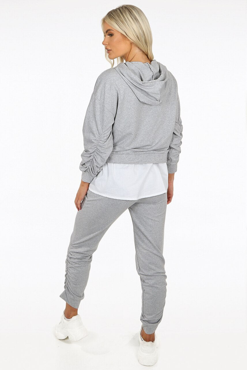 Grey Ruched Toggle Shirt Hoodie Loungewear Set - Ayana