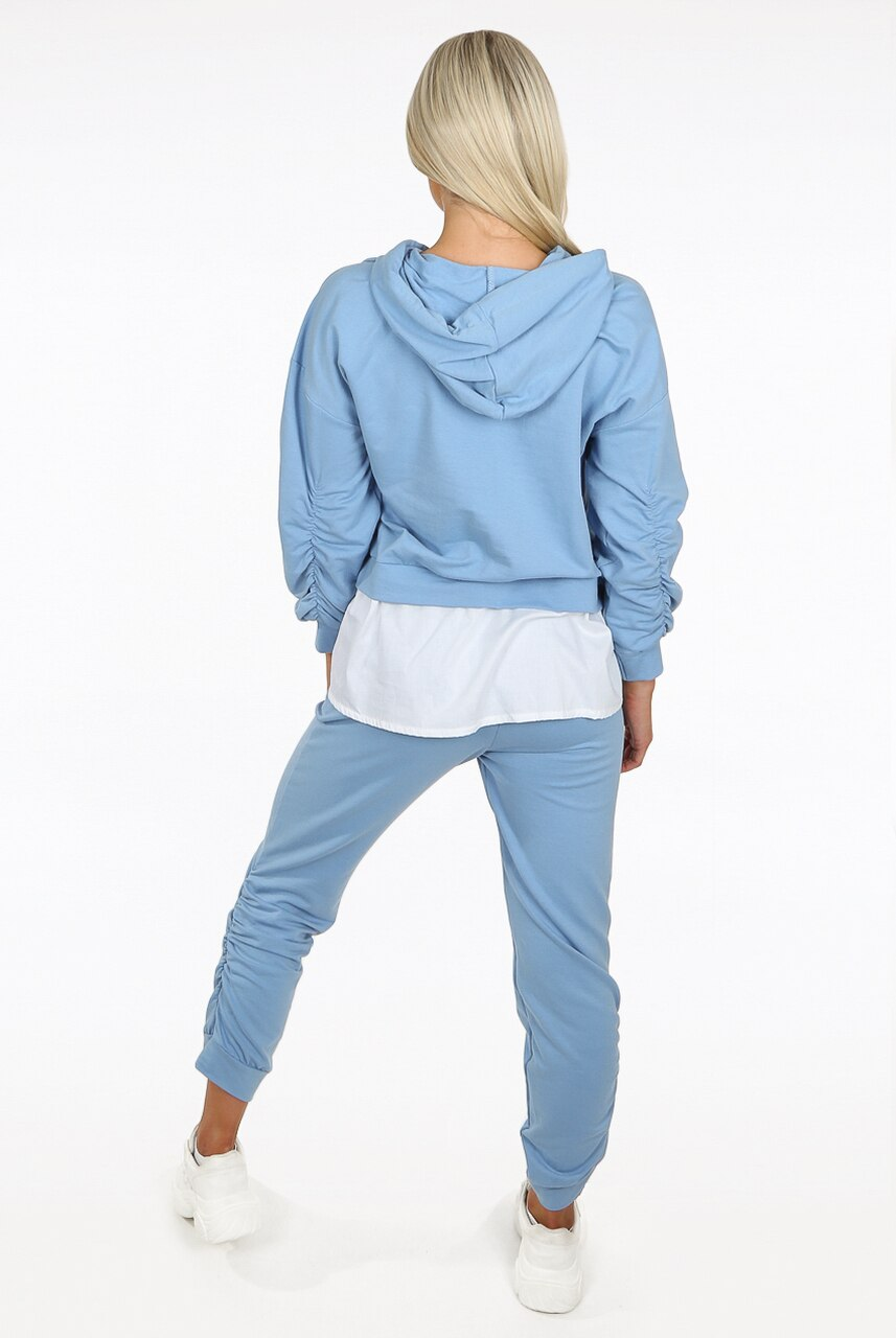Blue Ruched Toggle Shirt Hoodie Loungewear Set - Ayana