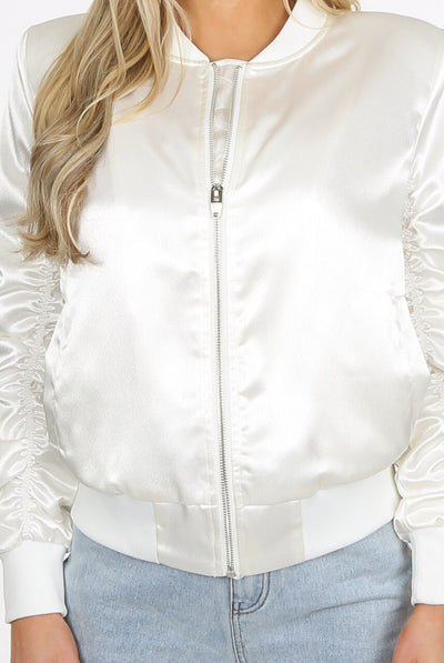 White Ruched Sleeve Satin Lux Bomber Jacket - Anastasia