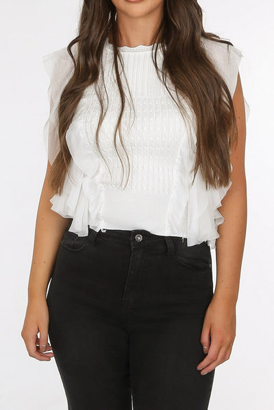 Off White Side Frill Knitted Top - Janaa