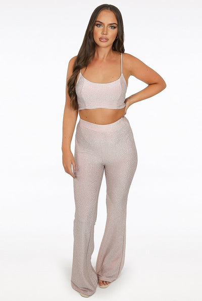 Pink Glitter Lurex Bell Bottom Trousers -  Lillian
