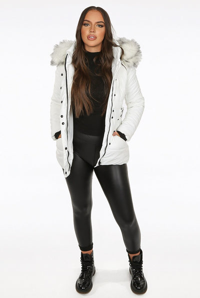 Off White Chunky Faux Fur Hood Padded Puffer Jacket - Lucy
