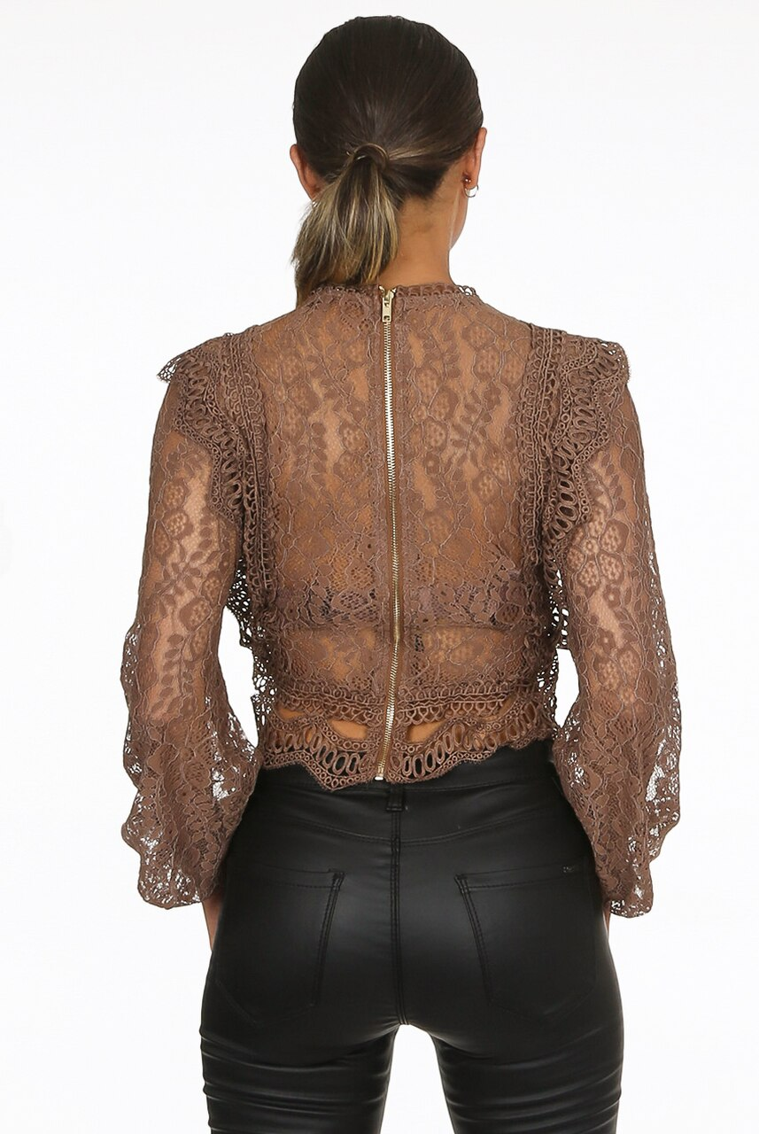 Brown Lace Long Sleeve Crochet Mesh Crop top - Dylan