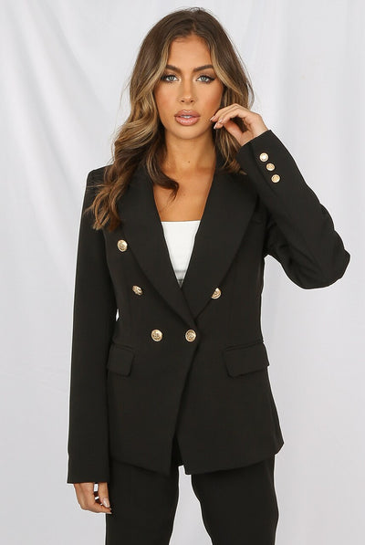 Black Golden Button Double Breast Blazer - Eden
