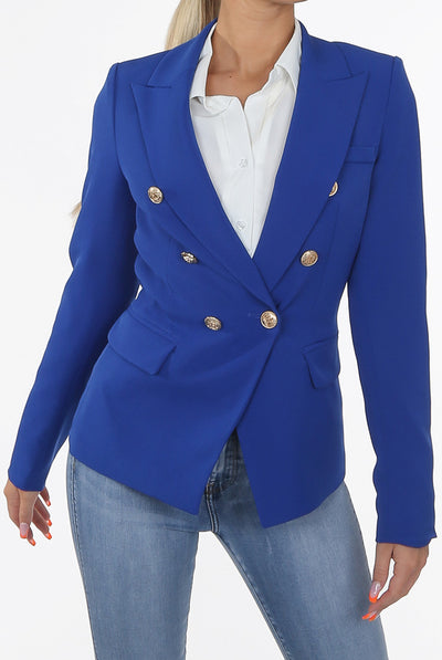 Royal Blue Golden Button Double Breast Blazer - Sofiah