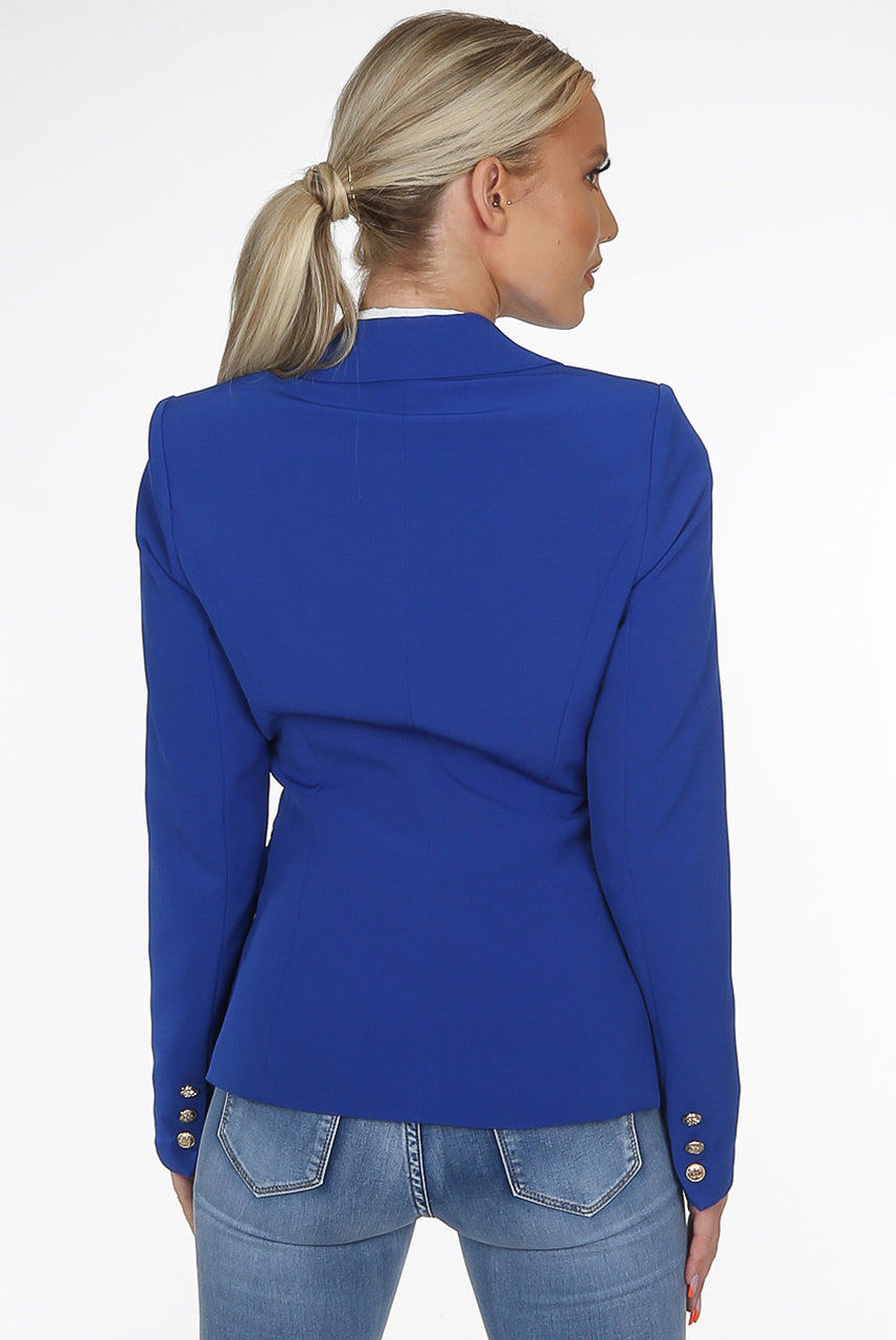 Royal Blue Golden Button Double Breast Blazer - Eden