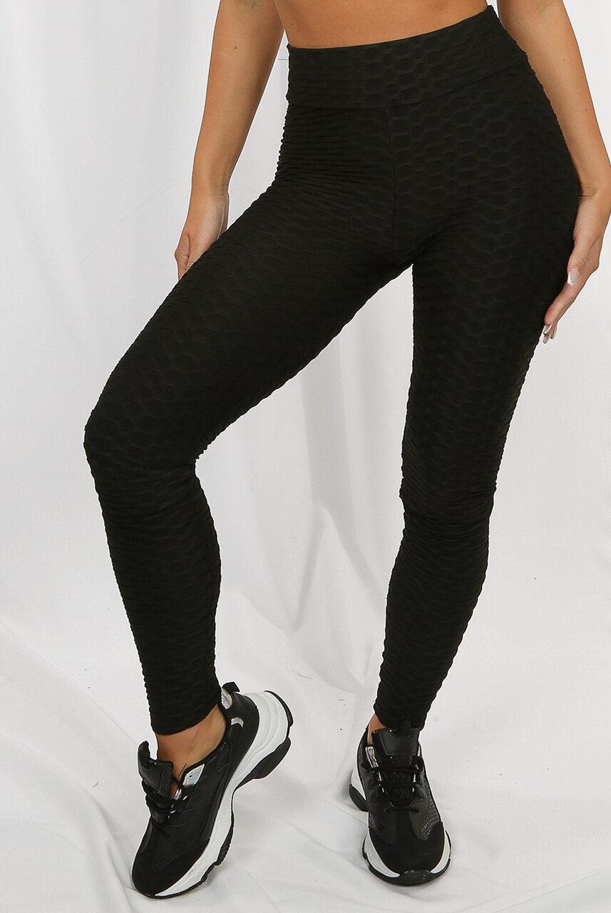 Black Ruched Textured Active leggings - Daniella