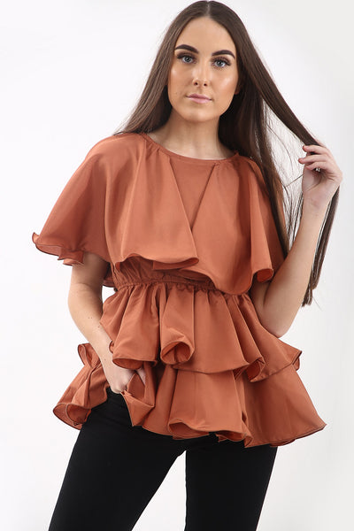 Rust Layered Rara Tiered Top - Hayden