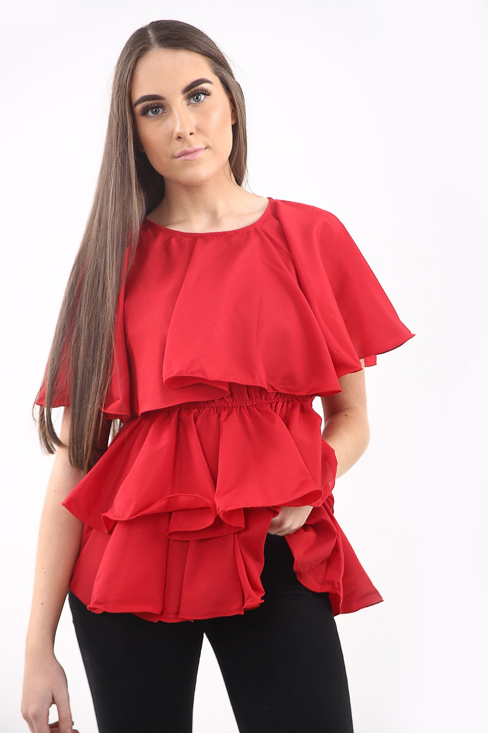 Red Layered Rara Tiered Top - Hayden