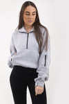 Back In Stock Grey Zip Up Jersey Casual Jumper - Miranda