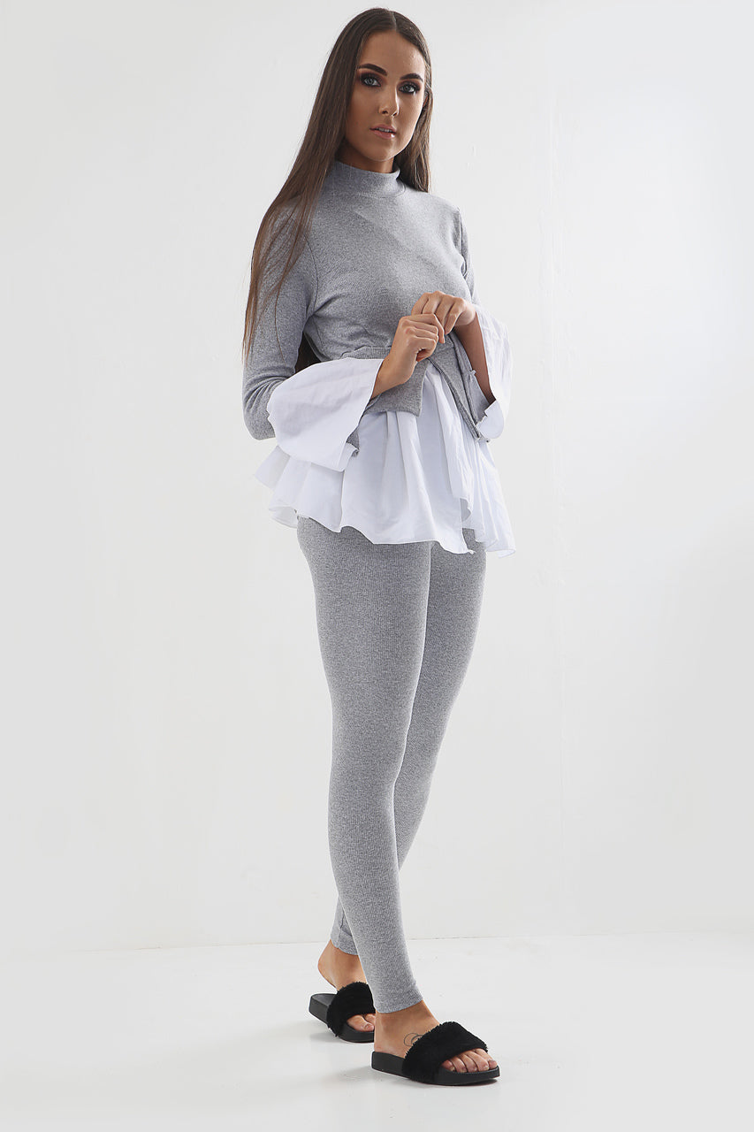 Grey Peekaboo Sleeves Ribbed Contrast Lounge Set - Khloe - Storm Desire