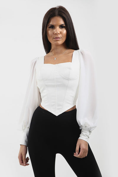 White Faux Leather Bustier Top - Kamila